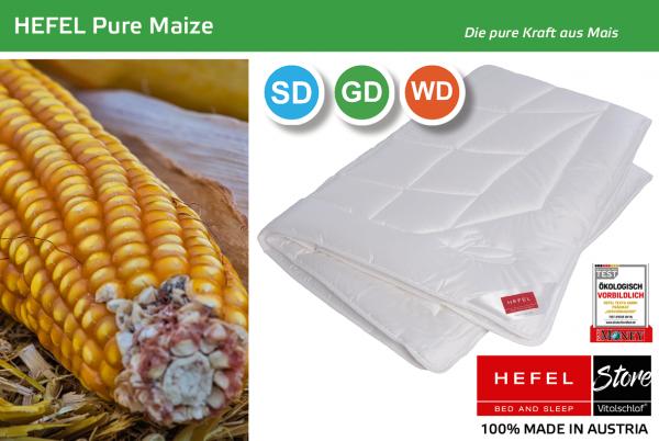 Hefel - Pure Maize - Naturfaser. Ganzjahres: Sommer - Single. Hefel Bio-Bettwaren, Decken, Polster, Unterbetten und Bettwäsche von Vitalschlaf: Ihre individuelle & vitale Schlafwelt aus Österreich.