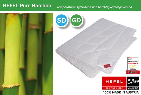 Hefel - Pure Bamboo - Naturfaser. Sommer: Sommer - Single. Hefel Bio-Bettwaren, Decken, Polster, Unterbetten und Bettwäsche von Vitalschlaf: Ihre individuelle & vitale Schlafwelt aus Österreich.