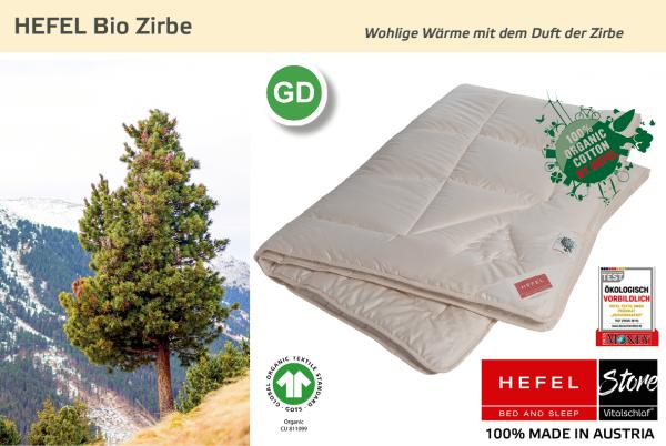 Hefel - Bio Zirbe - Naturhaar. Sommer: Ganzjahres - Single. Hefel Bio-Bettwaren, Decken, Polster, Unterbetten und Bettwäsche von Vitalschlaf: Ihre individuelle & vitale Schlafwelt aus Österreich.