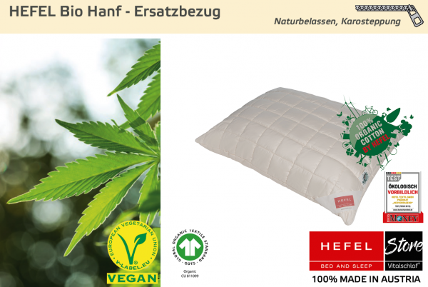 Hefel - Naturfaser - Bio Hanf Hülle - HANF & BAUMWOLLE & SCHAFWOLLE - Größe: 40x40 Reißverschluß: Ja ; Füllgewicht : - ; Füllgewicht 2 : n.v.. Hefel Bio-Bettwaren, Decken, Polster, Unterbetten und Bettwäsche von Vitalschlaf: Ihre individuelle & vitale Sc