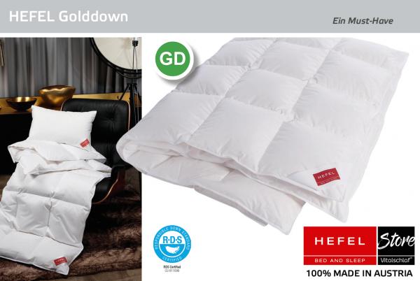 Hefel - Gold Down - Daune. Ganzjahres: Ganzjahres - Single. Hefel Bio-Bettwaren, Decken, Polster, Unterbetten und Bettwäsche von Vitalschlaf: Ihre individuelle & vitale Schlafwelt aus Österreich.