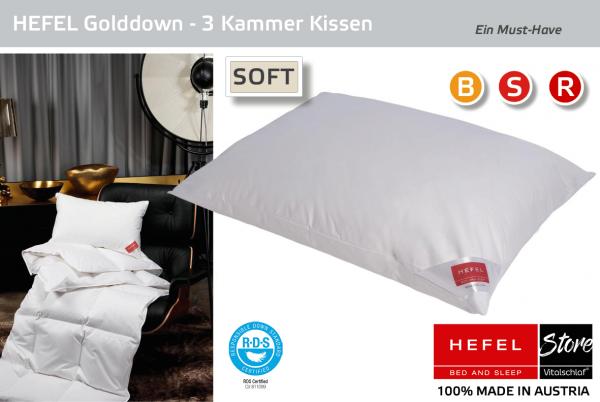 Hefel - Daune - Gold Down MEDIUM - 3 Kammer - Kissen - Größe: 40x60 Reißverschluß: Nein ; Füllgewicht : 460 ; Füllgewicht 2 : 80. Hefel Bio-Bettwaren, Decken, Polster, Unterbetten und Bettwäsche von Vitalschlaf: Ihre individuelle & vitale Schlafwelt aus