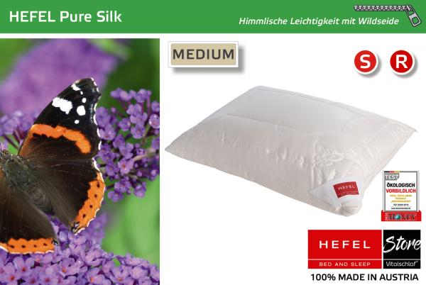 Hefel - Naturfaser - Pure Silk - WILDSEIDE & PES - Größe: 40x40 Reißverschluß: Ja ; Füllgewicht : 260 ; Füllgewicht 2 : n.v.. Hefel Bio-Bettwaren, Decken, Polster, Unterbetten und Bettwäsche von Vitalschlaf: Ihre individuelle & vitale Schlafwelt aus Öste