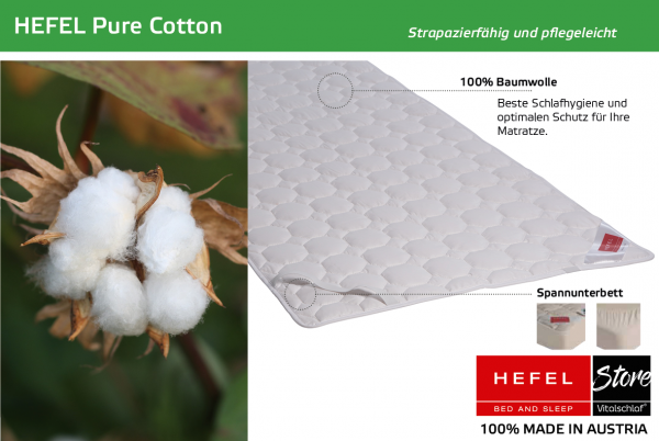 Hefel - Naturfaser - Pure Cotton - BAUMWOLLE - Größe: 60x120 Artikel: Unterbett ; Füllmenge 1 : 320 ; Füllmenge 2 : n.v.. Hefel Bio-Bettwaren, Decken, Polster, Unterbetten und Bettwäsche von Vitalschlaf: Ihre individuelle & vitale Schlafwelt aus Österrei