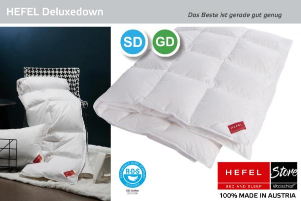 Hefel - De Luxe Down - Daune. Ganzjahres: Sommer - Single. Hefel Bio-Bettwaren, Decken, Polster, Unterbetten und Bettwäsche von Vitalschlaf: Ihre individuelle & vitale Schlafwelt aus Österreich.