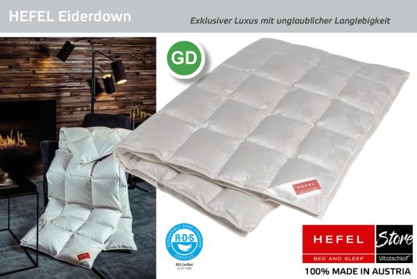Hefel - Eiderdown De Luxe - Daune. Ganzjahres: Ganzjahres - Single. Hefel Bio-Bettwaren, Decken, Polster, Unterbetten und Bettwäsche von Vitalschlaf: Ihre individuelle & vitale Schlafwelt aus Österreich.