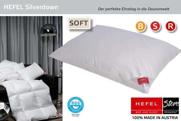 Hefel - Daune - Silver Down MEDIUM - Kissen - Größe: 40x60 Reißverschluß: Nein ; Füllgewicht : 420 ; Füllgewicht 2 : n.v.. Hefel Bio-Bettwaren, Decken, Polster, Unterbetten und Bettwäsche von Vitalschlaf: Ihre individuelle & vitale Schlafwelt aus Österre