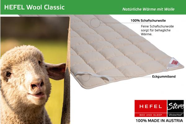 Hefel - Naturhaar - Wool Classic - SCHAFWOLLE - Größe: 70x140 Artikel: Unterbett ; Füllmenge 1 : 390 ; Füllmenge 2 : n.v.. Hefel Bio-Bettwaren, Decken, Polster, Unterbetten und Bettwäsche von Vitalschlaf: Ihre individuelle & vitale Schlafwelt aus Österre