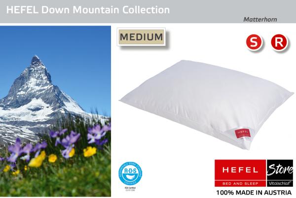 Hefel - Daune - Matterhorn MEDIUM - Kissen - Größe: 40x60 Reißverschluß: Nein ; Füllgewicht : 400 ; Füllgewicht 2 : n.v.. Hefel Bio-Bettwaren, Decken, Polster, Unterbetten und Bettwäsche von Vitalschlaf: Ihre individuelle & vitale Schlafwelt aus Österrei