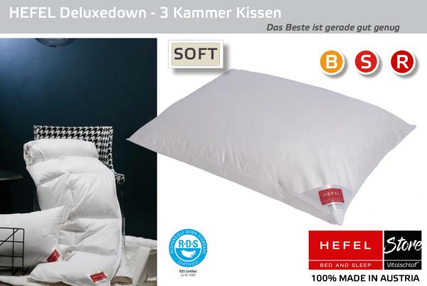 Hefel - Daune - De Luxe Down MEDIUM- 3 Kammer - Kissen - Größe: 40x60 Reißverschluß: Nein ; Füllgewicht : 460 ; Füllgewicht 2 : 80. Hefel Bio-Bettwaren, Decken, Polster, Unterbetten und Bettwäsche von Vitalschlaf: Ihre individuelle & vitale Schlafwelt au