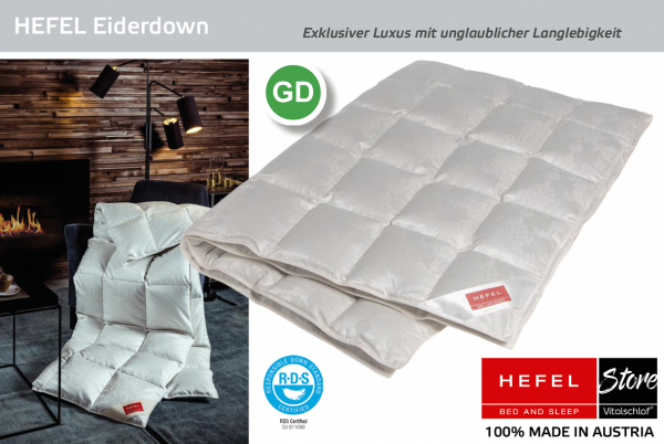 Hefel - Eiderdown Silk - Daune. Ganzjahres: Ganzjahres - Single. Hefel Bio-Bettwaren, Decken, Polster, Unterbetten und Bettwäsche von Vitalschlaf: Ihre individuelle & vitale Schlafwelt aus Österreich.